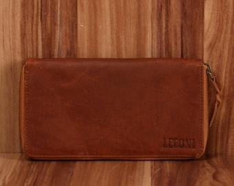 4ce70565bda6b9 LECONI Geldbörse Portemonnaie Damen Brieftasche für Frauen natur querformat Leder  braun LE9006-wax