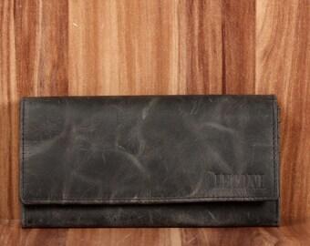 839fd51f92169 LECONI Geldbörse Portemonnaie Damen querformat Leder grau LE9008-wax