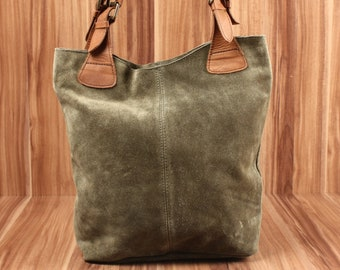 3d7ee498d8c89 LECONI Henkeltasche Shopper Beuteltasche Ledertasche Damentasche weiches  Veloursleder Wildleder grün LE0033-VL