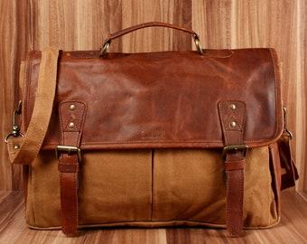 LECONI messenger bag din A4 Courier bag Shoulder bag lady bag men's bag business bag leather canvas Cognac LE3018-C