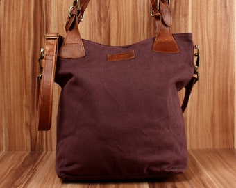 b2c53777d5c6d LECONI Schultertasche Umhängetasche Beuteltasche rot braun Echtleder Frauen  Henkeltasche Shopper Damentasche Canvas Leder bordeaux LE0054-C