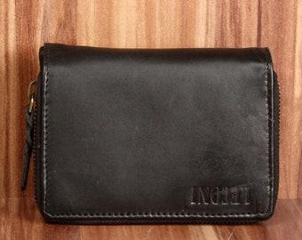 ee4c61e8179e76 LECONI Geldbörse Portemonnaie Damen Herren Brieftasche Frauen Männer natur  kompakt Leder schwarz LE9012-wax