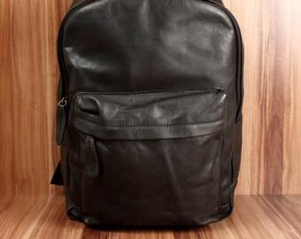 fa0ed1f5e1a17 LECONI Rucksack Lederrucksack Schulrucksack Freizeitrucksack Damen Herren  Leder schwarz LE1009-wax