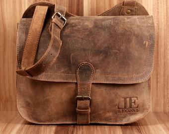 LECONI shoulder bag shoulder bag leisure bag mens bag women's bag buffalo leather bag vintage women men brown LE3061-vin