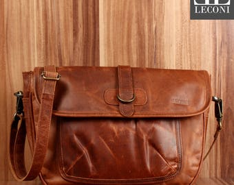 LECONI shoulder bag women shoulder bag women genuine leather leisure everyday leather bag women's bag leather brown LE3053-wax