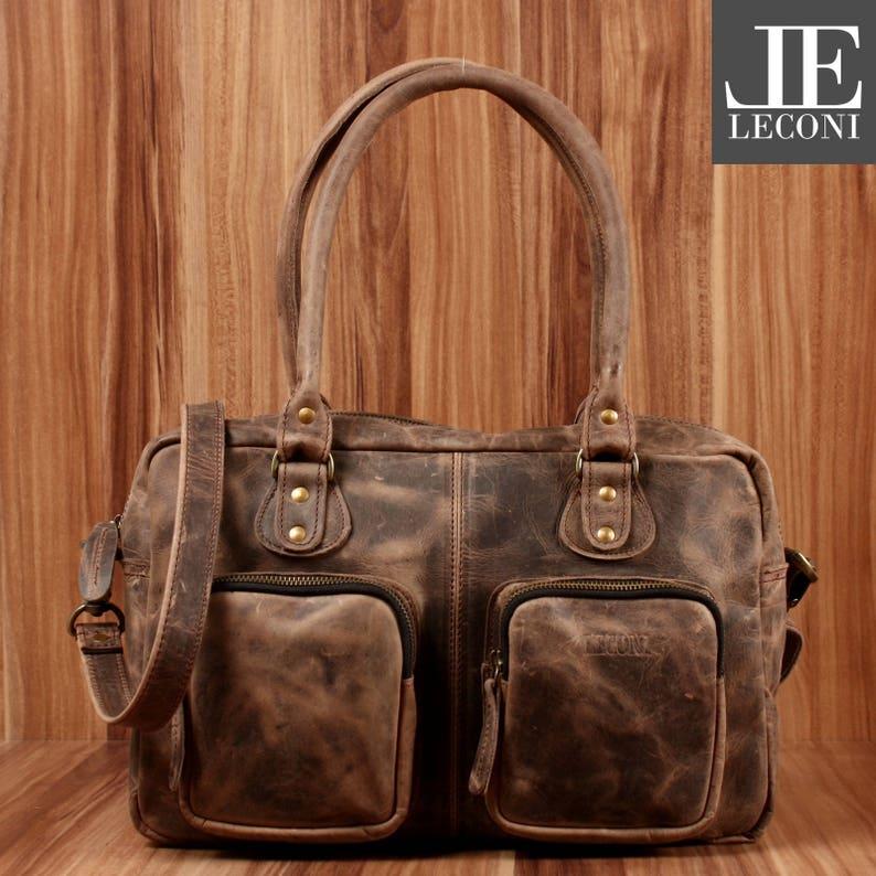 LECONI Shopper Retro Handtasche Echtleder Damen Henkeltasche schlamm LE0034-wax