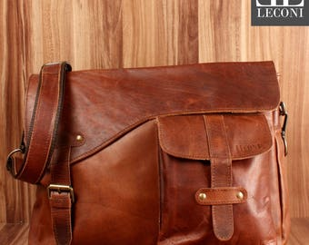 LECONI Messenger Bag college bag din A4 Courier bag leather bag women men bag shoulder bag leather brown LE3032-Wax
