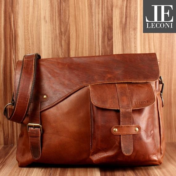 8eabeb4f06 LECONI Messenger Bag college bag din A4 Courier bag leather