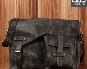 LECONI Messenger Bag college bag din A4 Courier bag leather bag women men bag shoulder bag leather grey LE3032-Wax