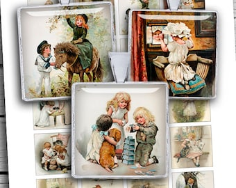 """Victorian Children Square Printable images  1x1"""" 1.5x1.5"""" for Pendants Magnets Scrapbooking Digital Collage Sheet - Instant Download"""