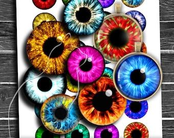 Anime Eyes Printable Instant Download Digital Collage Sheet 14mm 16mm 18mm 6 Sizes Included Fantasy \u0421artoon Bright Eyes Realistic Irises