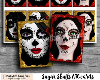 Sugar Skull Faces Printable ACEO ATC cards Gift Tags Jewelry Holders  Scrapbooking Cards Digital Collage Sheet
