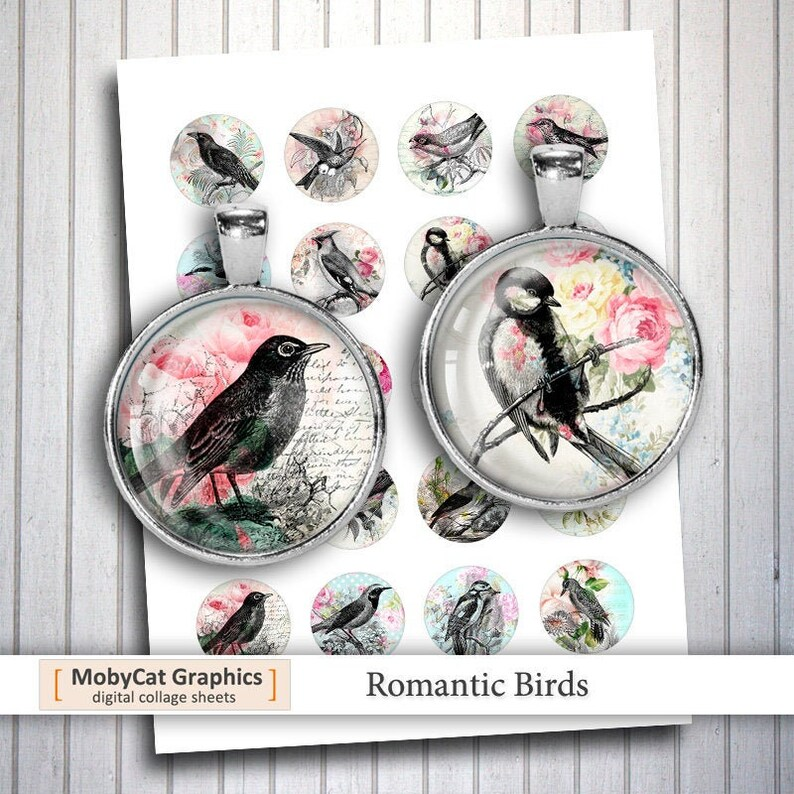 Romantic Birds 20mm 1 25mm 1.5 Printable Round image 0