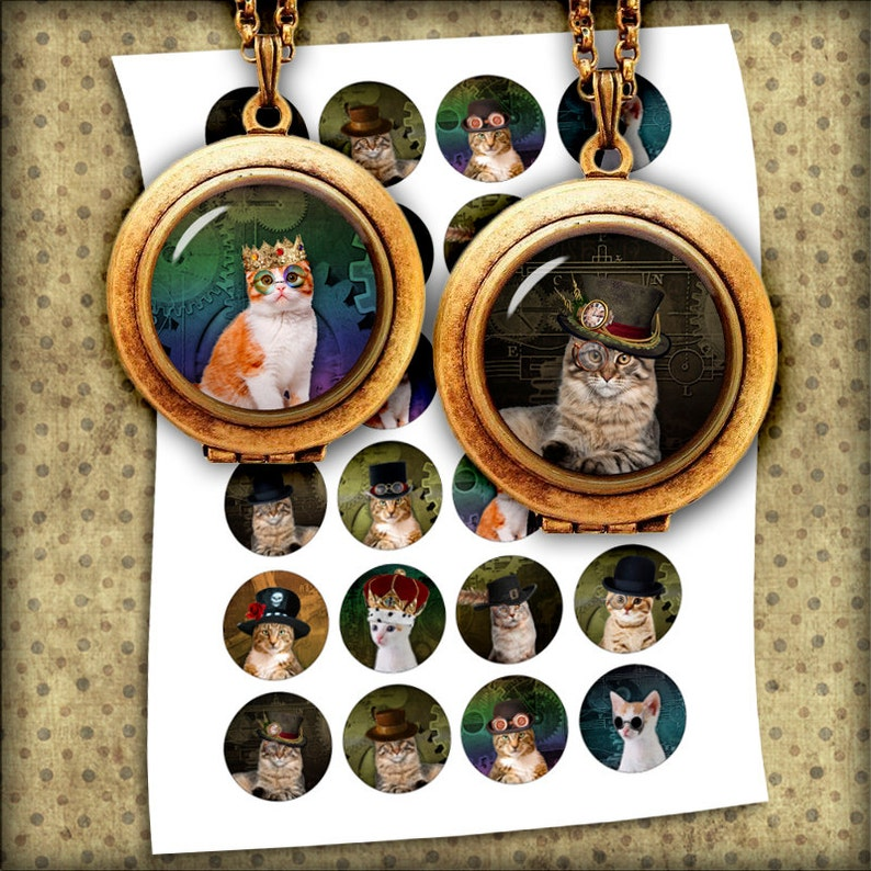Steampunk Cats Bottle cap Images 1 inch 25mm 1.5 inch image 0