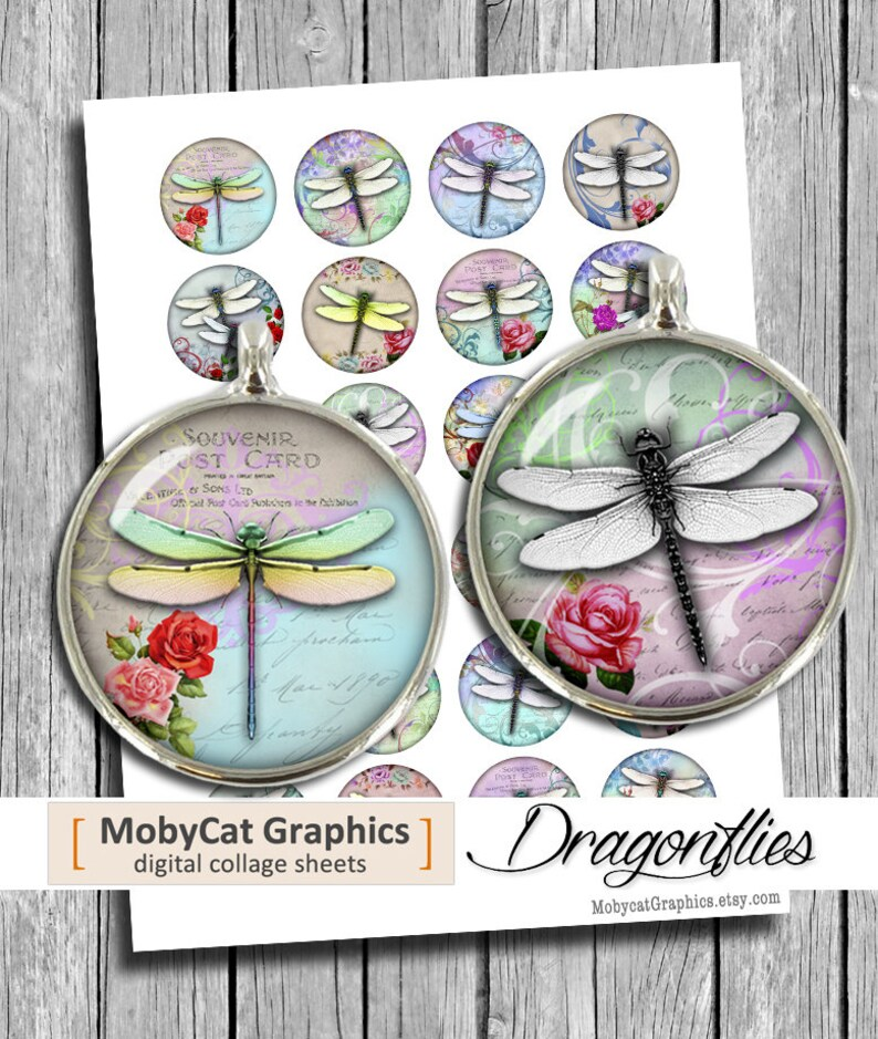 Dragonflies  1  1.25 30mm 35mm 1.5 inch Round image 0