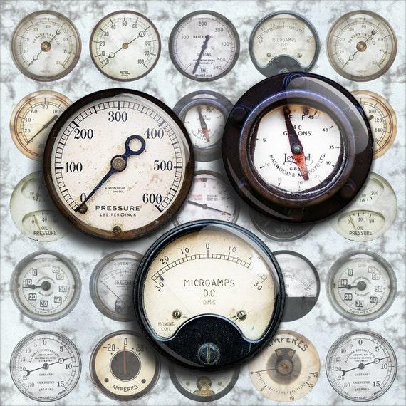 steampunk voltage gauges
