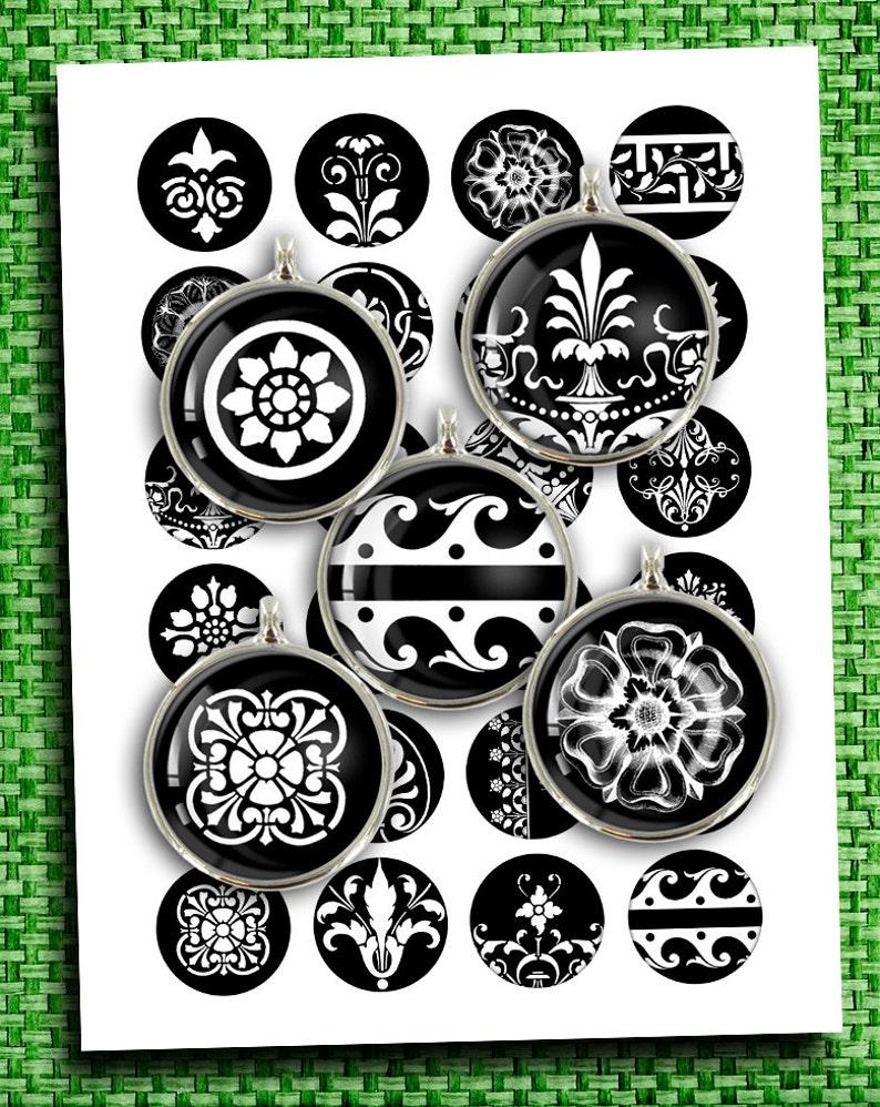 Monochrome Floral Mirror Images 12mm 14mm 16mm 18mm Digital image 0