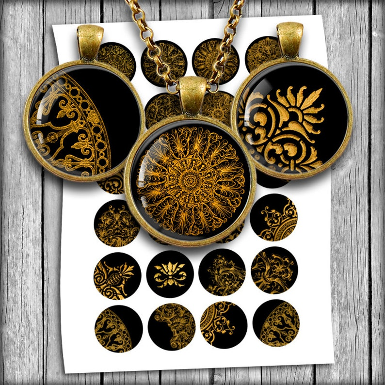 Golden Victorian Ornaments Circles for Jewelry Making image 0