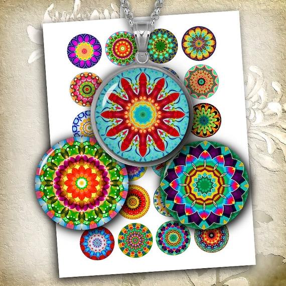 Kaleidoscope Ca: Bright Kaleidoscope Digital Collage Sheet 12mm 14mm 16mm