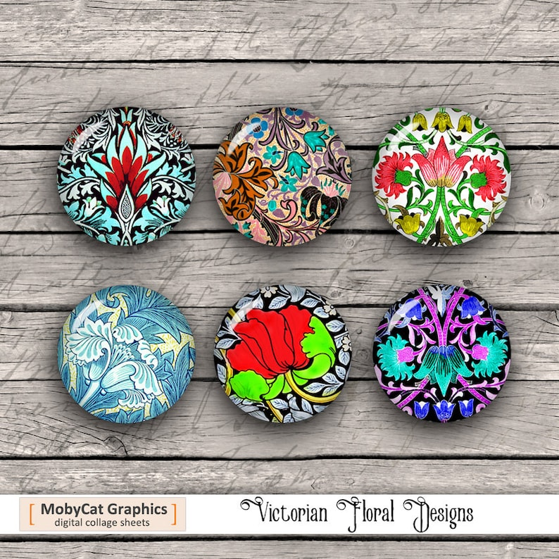 Victorian Floral Patterns Round Printable images 20mm 25mm image 1