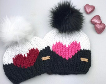 198fbedfa54 Knit Big Heart Beanie with Removable Faux Fur Pom Pom - Chunky Knit Hat -  Heart Beanie - All Sizes - Gift for Her -