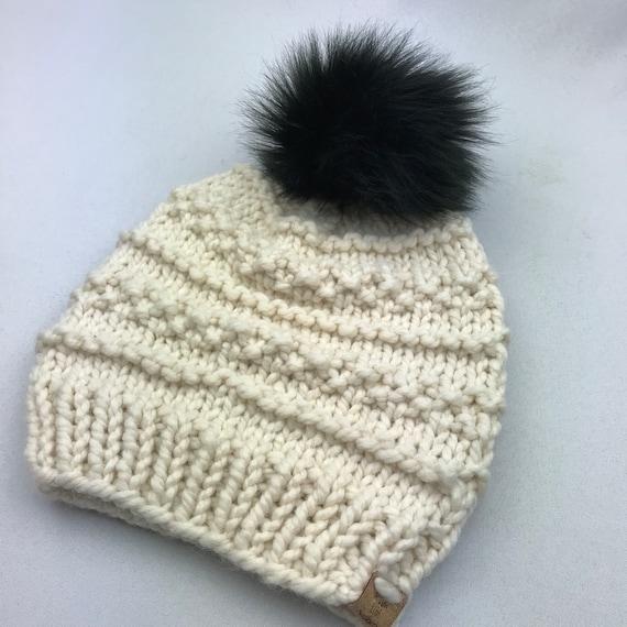 c1069bdf6f1 Knit Beanie With Faux Fur Pom Pom Chunky Knit Hat Womens