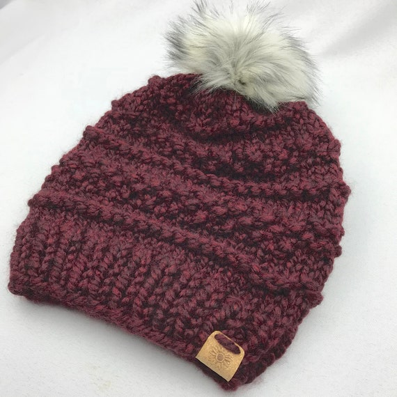 3fc3b8d064b Chunky Knit Beanie With Removable Faux Fur Pom Pom Winter