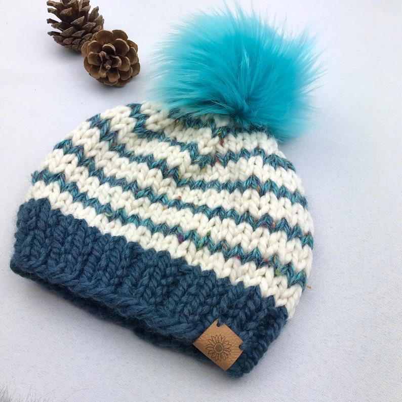 b100117fd1f51a Knit Beanie with Faux Fur Pom Pom Winter Hat Child Size | Etsy