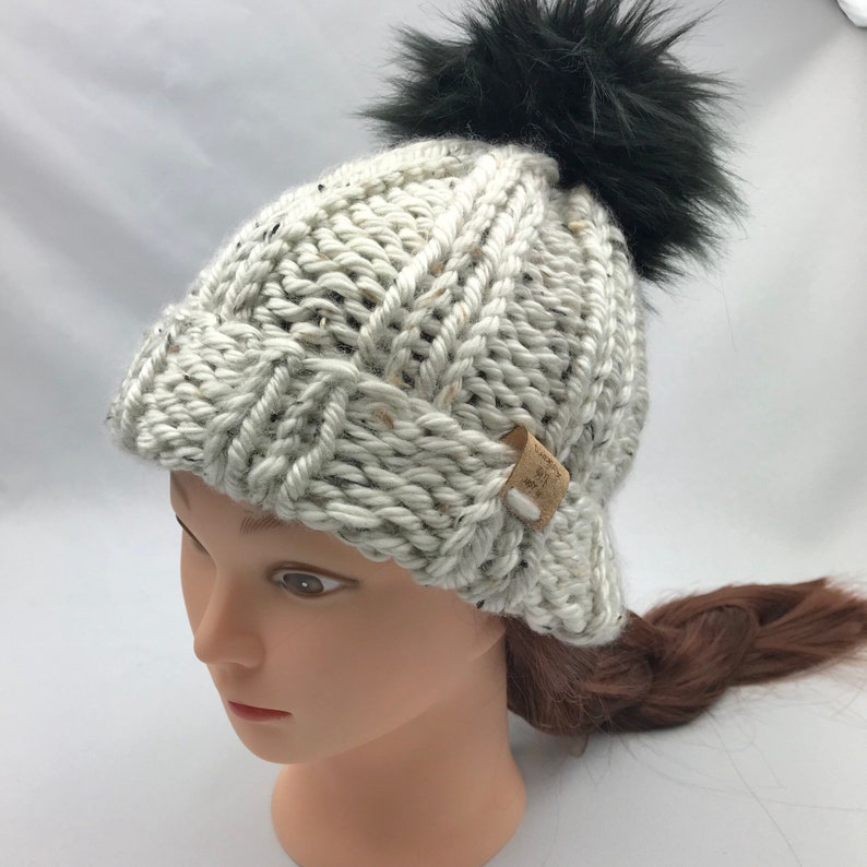 705021aac04 Chunky Ribbed Knit Beanie With Removable Faux Fur Pom Pom