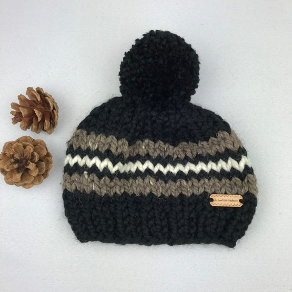 Knit Hat for Boy Black Beanie with Pom Toddler and Child  e6ff080aa20