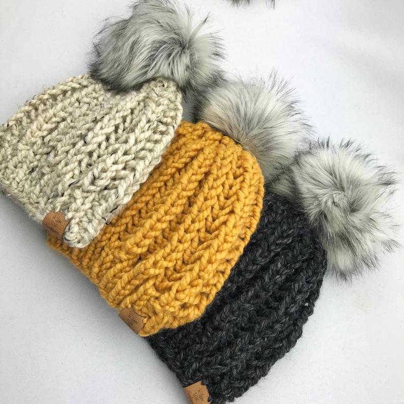 0fe6b30f9 Chunky Knit Beanie with Faux Fur Pom Warm and cozy ribbed