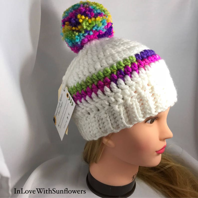 5d6244c10 Beanie with PomPom - Rainbow Beanie - Crochet Beanie With Pom Pom - Crochet  Child Hat - Pom Pom Beanie, gift for her, Toddler Hat, Toque