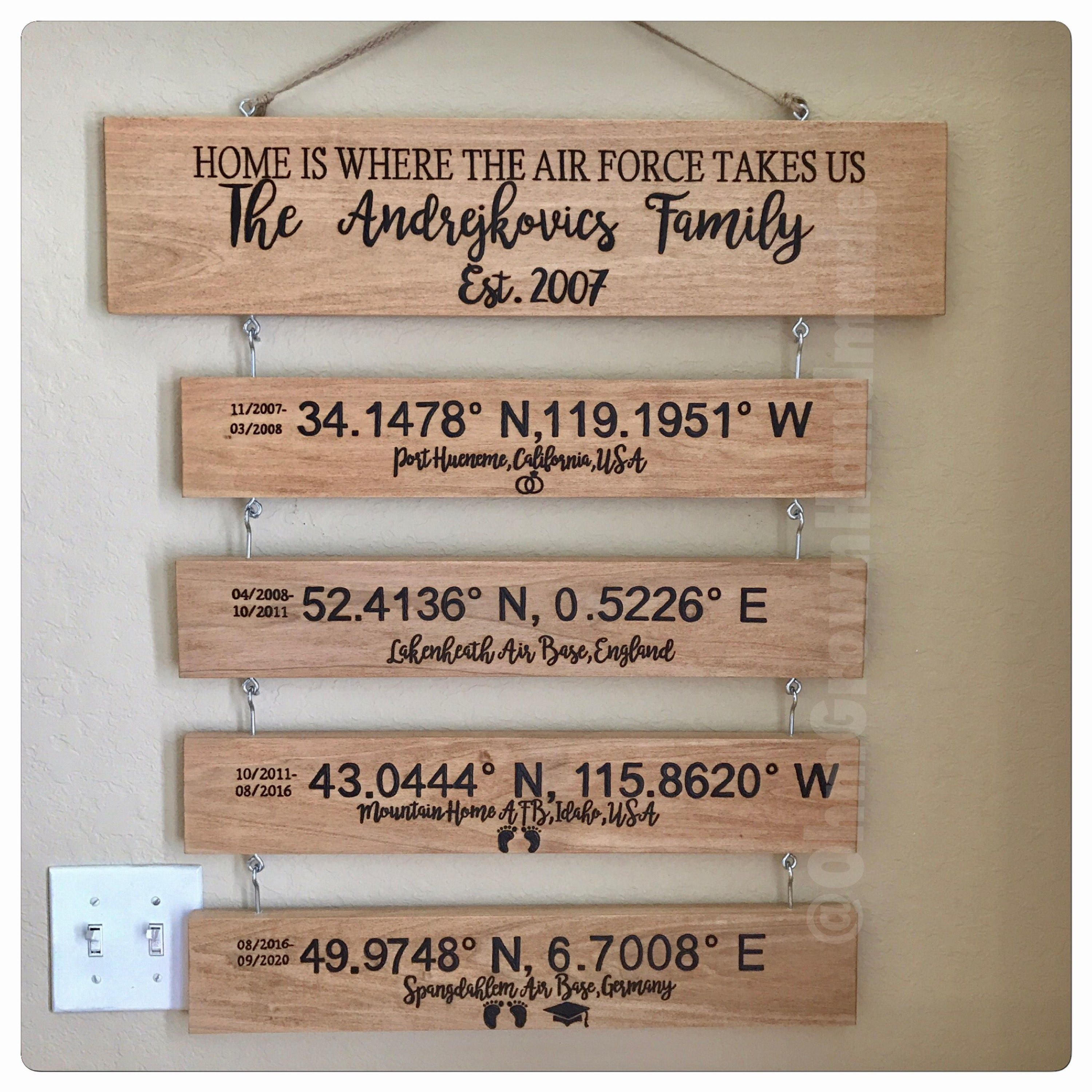 Military Deployment Family Custom Handmade Unique Personalizsz Signs  Coordinates Stationed Army Navy Air Force Marines Coast Guard