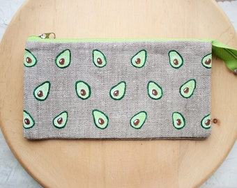 43d2175222cb Avocado wallet Small purse for women Linen makeup bag Fabric cosmetic bag  Pencil case Avocado zippered pouch Girlfriend Gift For girl