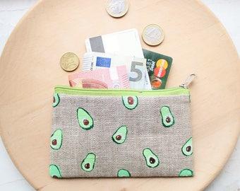 Avocado purse Avocado pouch Avocado coin purse Linen zipper pouch Credit cards case Makeup bag Linen purse Christmas gift For her For girl