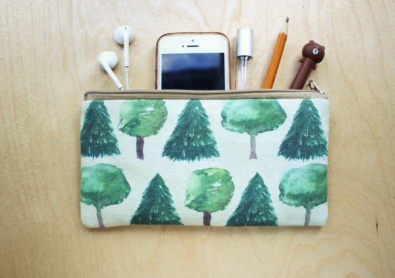 19e547d9f256 Tree pencil case Pine pencil pouch Small makeup bag for woman Watercolor  print zipper pouch Spruce Fir Organizer Pen case Gift for teacher