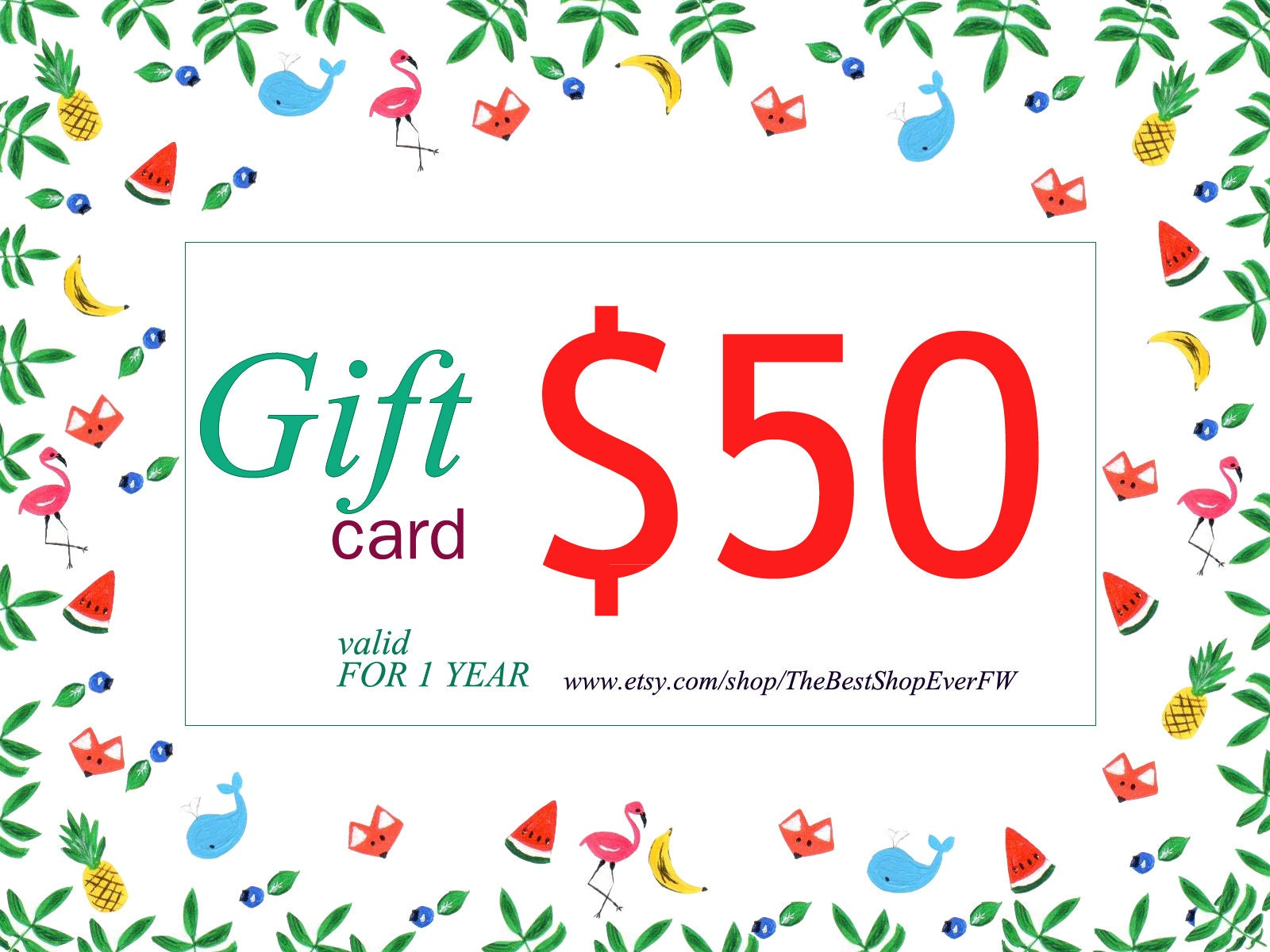 Gift card 50 Last minute gift Personal gift card Christmas | Etsy