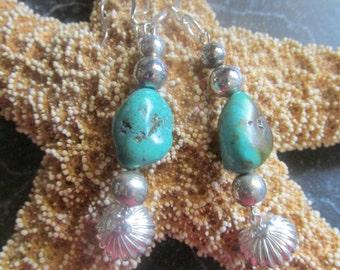 Turquoise Beaded Dangle Pierced Earrings Handmade Turquoise Earrings