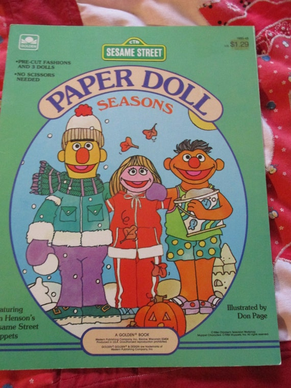 Sesame Street Jim Henson S Muppets Paper Dolls Golden Book 1984 Bert Ernie Prairie Dawn