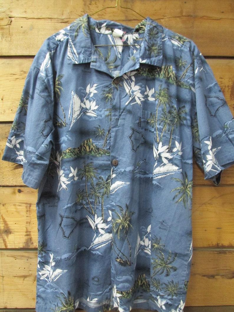 50a0d9ad Hawaiian Print Shirt Tropical Print Hawaiian Island Symbols | Etsy