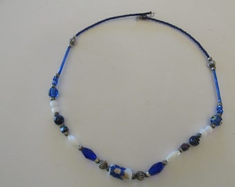 Handmade Vintage Beaded Necklace Blue, Silver Tone, and White
