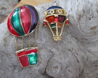 Hot Air Balloon Pin Brooch Lot Vintage Jewelry Pair