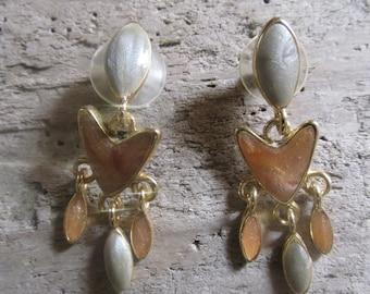Dangle Earrings Gold Tone Light Green and Peach Pierced Earrings