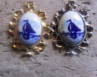 Holland Delft Pendants Silver Tone and Gold Tone Sailboat Theme