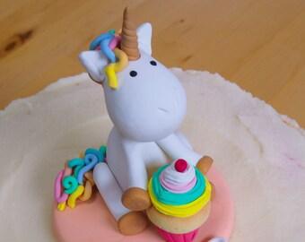 Rainbow Unicorn Keepsake Cake Topper - Birthday - Baby Shower - Cupcake