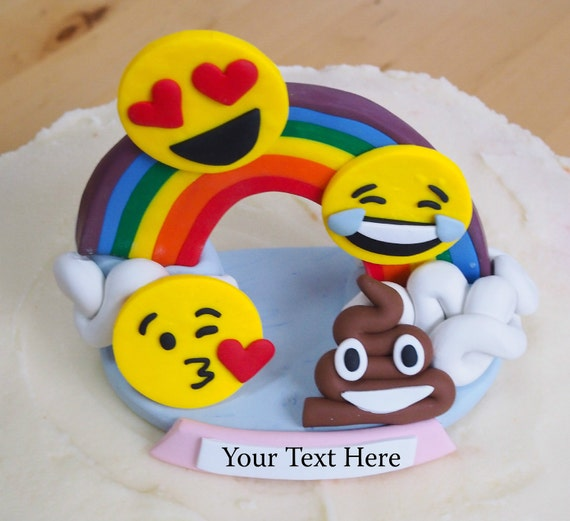 Emoji Birthday Cake Topper Keepsake Personalized Heart
