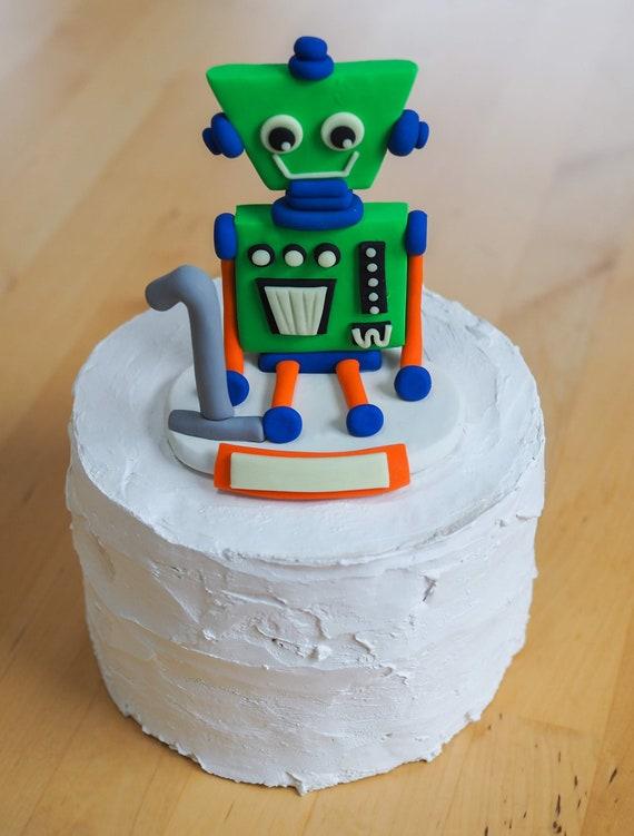 Surprising Robot Cake Topper Birthday Glow In The Dark Personalized Etsy Funny Birthday Cards Online Alyptdamsfinfo