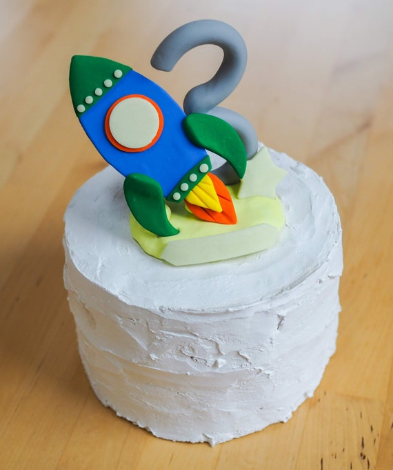 Superb Rocket Cake Topper Birthday Outer Space Glow In The Dark Funny Birthday Cards Online Alyptdamsfinfo