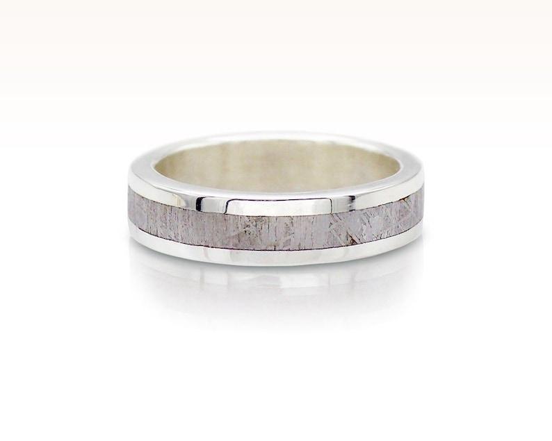 Stardust Meteorite Wedding Band Meteorite And Silver Ring Etsy