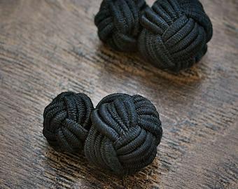 Silk Knot Cufflinks, BLACK Cufflinks, Groomsmen, Stag Do, Cotton Anniversary, Gift Him, Knot, Mens, Ladies, Shirt, Black Tie